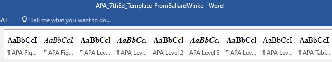 APA 7th Edition Style Ribbon in MS Word